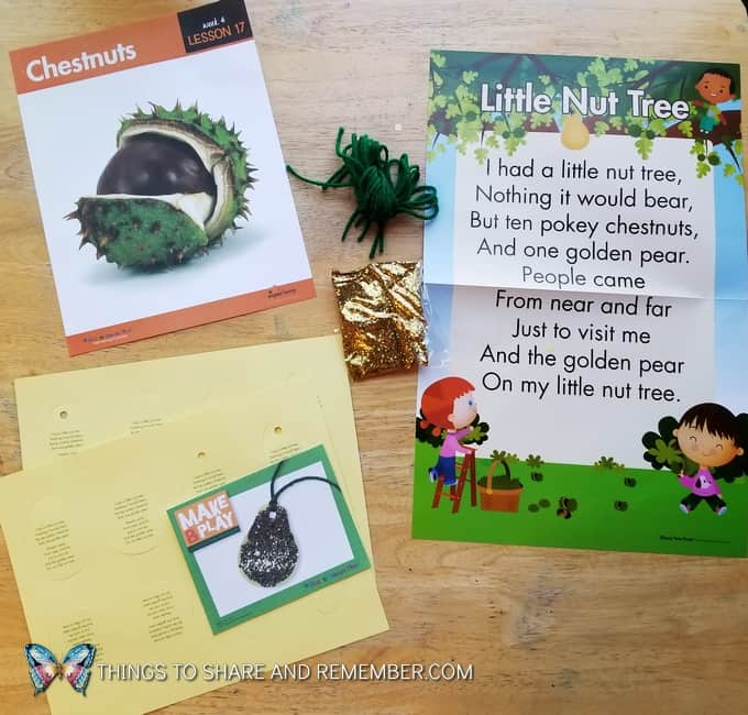 Lesson 17 Mother Goose Time Preschool Curriculum Orchard Harvest fall theme Chestnuts Little Nut Tree Rhyme Poem Poster