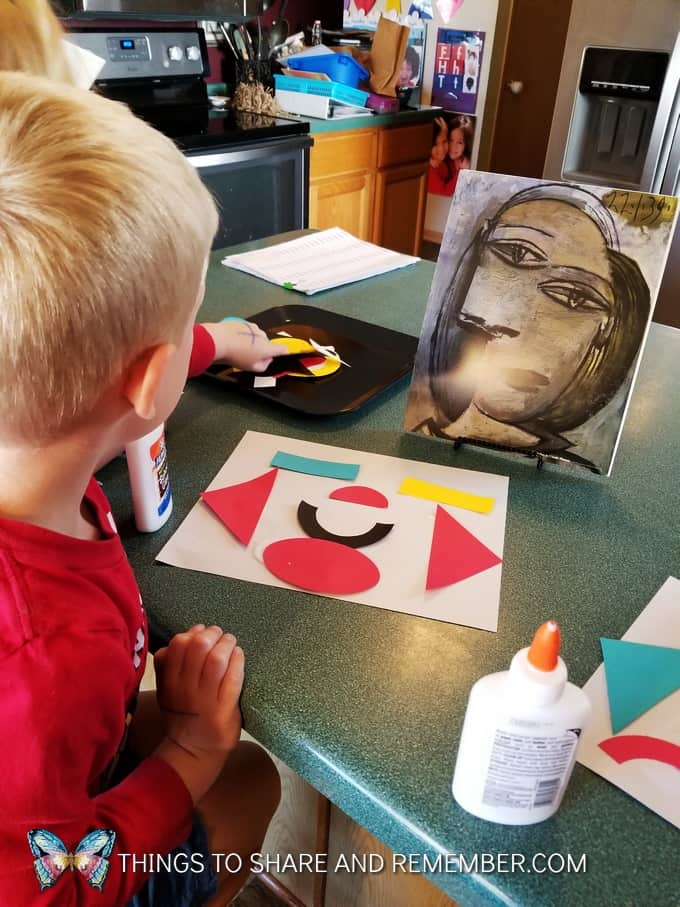 Picasso in Preschool - colorful shape art influenced by Pablo Picasso