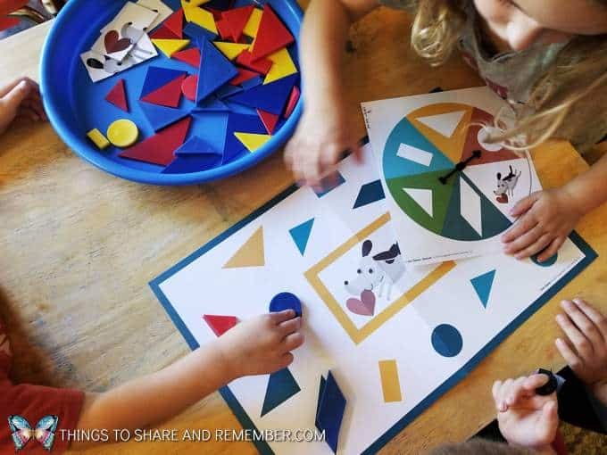 shape game using a spinner and shape blocks