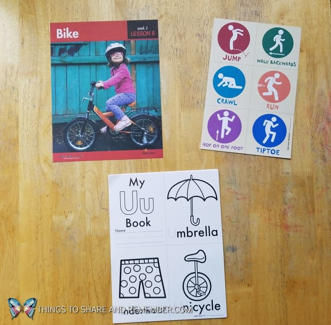 Lesson 8: Bike What's in the box: Transportation Station Letter Uu book preschool coloring
