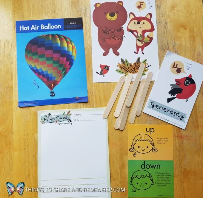 Lesson 12: hot air balloon, Forest Friends character development materials, learning about generosity, and introducing sign language to preschoolers What's in the box: Transportation Station
