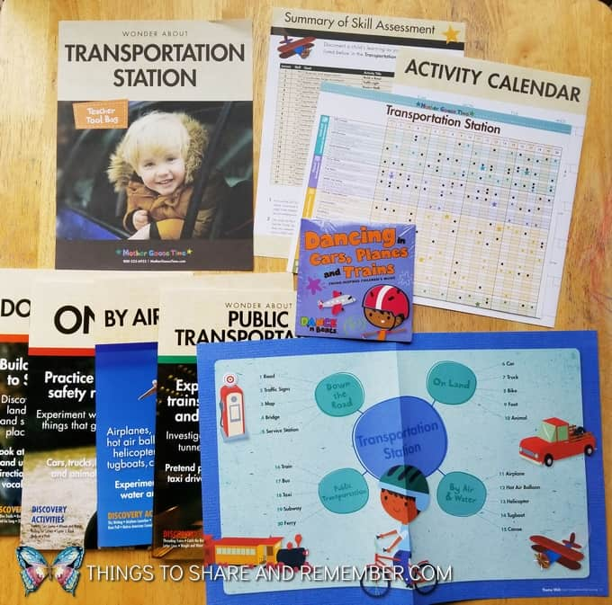 Transportation Station preschool theme teaching materials including activity calendar, theme web, teacher guides