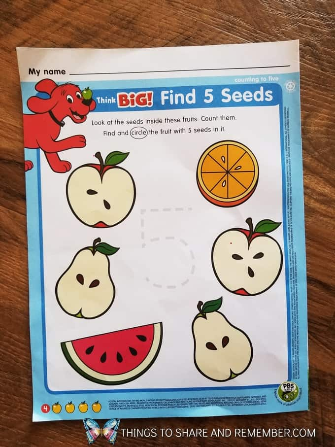 Scholastic My Big World with Clifford from September 2017 Find 5 seeds