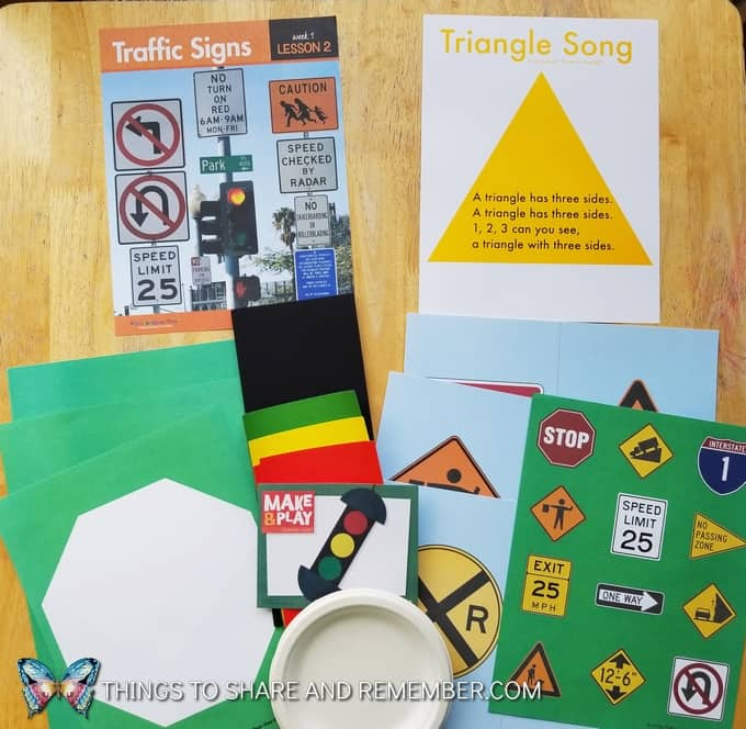 Lesson 2: traffic signs, triangle song, stoplight craft
