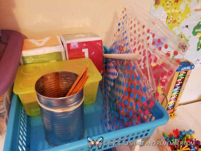 basket with items for super fun circle time