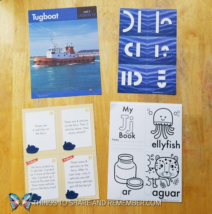 Lesson14: Tugboat What's in the box: Transportation Station Letter Jj book
