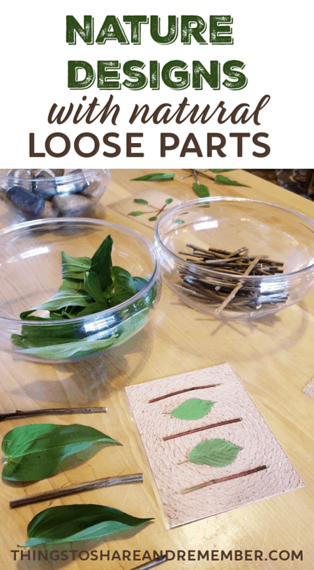 Nature Designs with natural loose parts a Mother Goose Time activity from Share & Remember #MGTblogger #looseparts