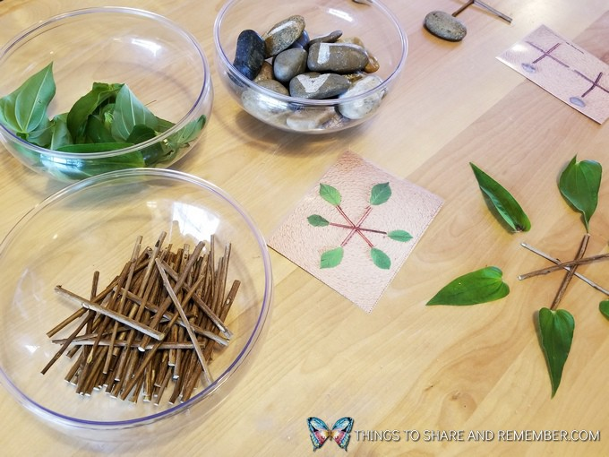 Loose Parts Nature Designs materials table top activity