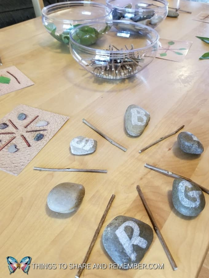 circular design with rocks and sticks Loose Parts Nature Designs