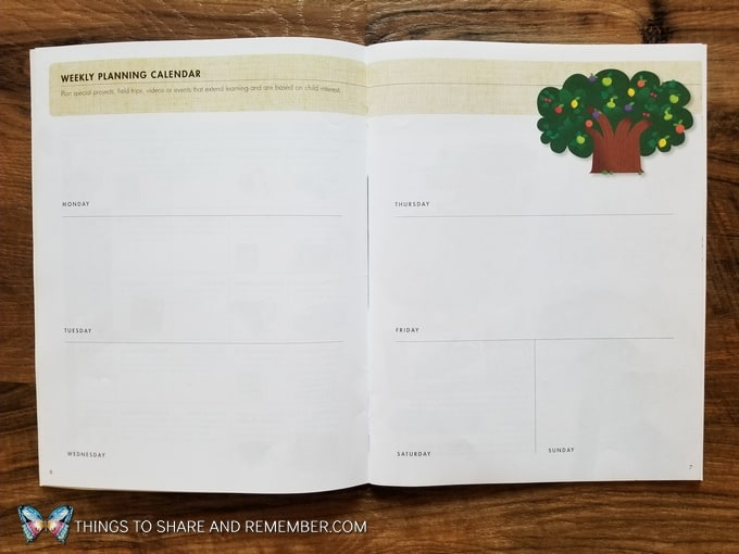 Weekly planning calendar pages in teacher guides from Mother Goose Time Making the Most of Your Mother Goose Time Materials