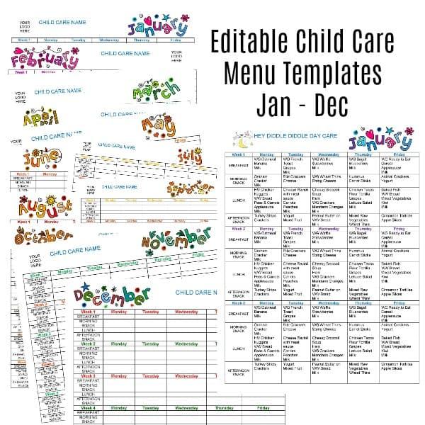 Editable Monthly Child Care Menu Templates Jan-Dec