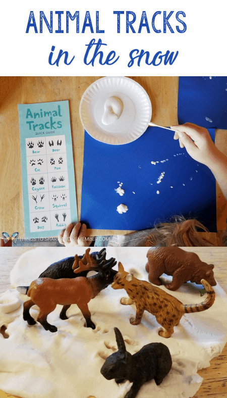 Animal Tracks in the Snow preschool activities to learn about Sights and Sounds of Winter. #MotherGooseTime #MGTblogger #preschoolcurriculum #preschool #winteractivities #SightsandSounds