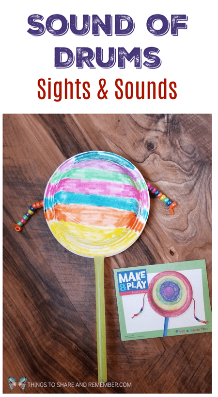 Sound of Drums - Sights and Sounds - Mother Goose Time Preschool Curriculum Paper plate drum instrument craft for preschoolers #MGTblogger #MotherGooseTime #preschoolcurriculum #preschool #preschoolmusic #SightsandSounds