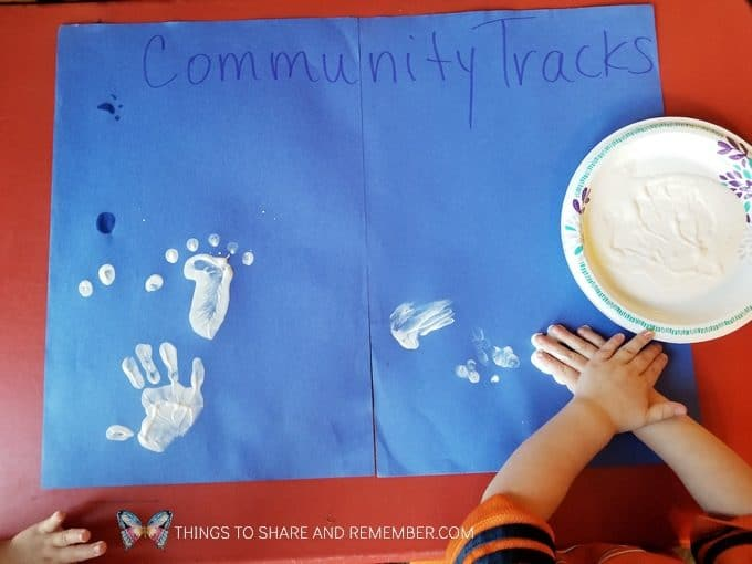 Community Challenge for preschool: making fingerprints or handprints group activity for preschool - goes with the theme Sights and Sounds of Winter from Mother Goose Time  #MGTblogger #MotherGooseTime #preschool #SightsandSounds #preschoolcurriculum