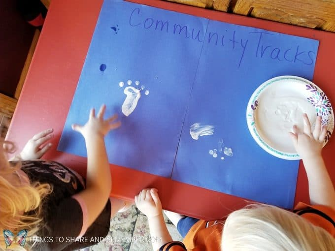 Community Challenge for preschool: making fingerprints or handprints group activity for preschool - goes with the theme Sights and Sounds of Winter from Mother Goose Time  #MGTblogger #MotherGooseTime #preschool #SightsandSounds