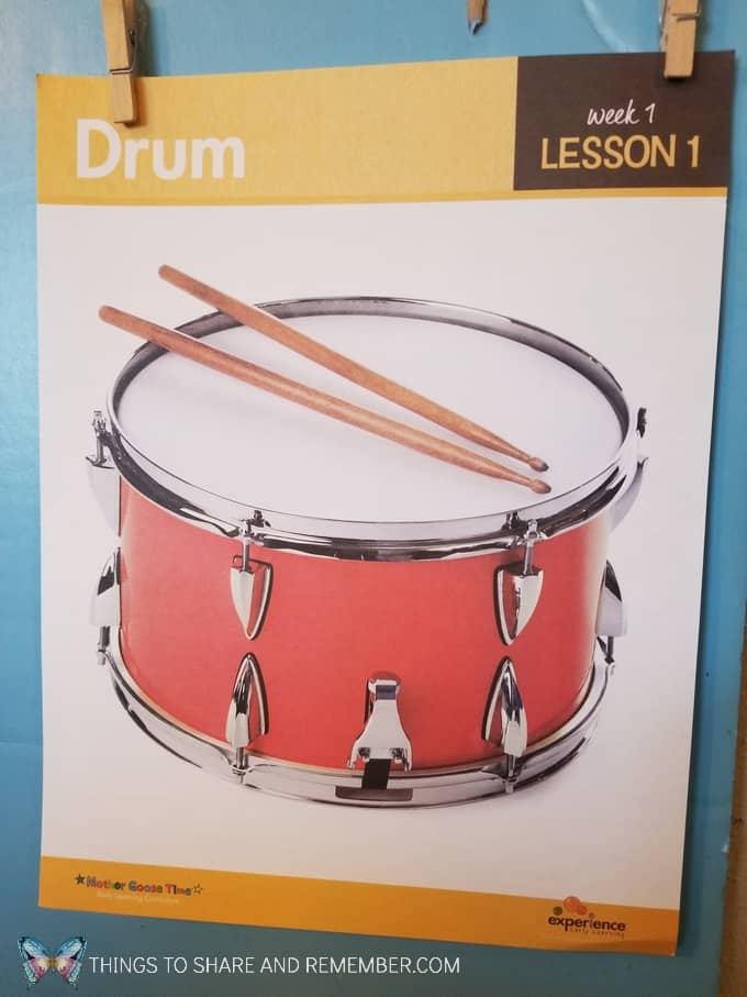 Drum lesson 1 of Sights and Sounds Mother Goose Time preschool curriculum. Wonder about orchestra including: drums, woodwinds, horns and stringed instruments. #MotherGooseTime #MGTblogger #SightsandSounds #preschoolmusic