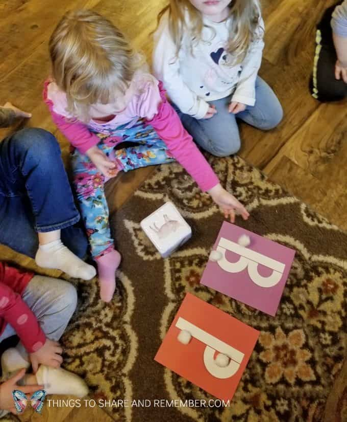 Flying owls game for preschoolers featuring letters B & P from Mother Goose Time December winter theme