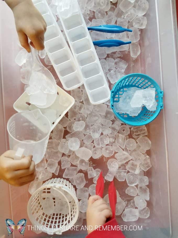 Science and Nature Ice sounds STEAM Station Ice sensory bin for winter ice preschool theme. #MotherGooseTime #MGTblogger #SightsandSounds #sensorybin
