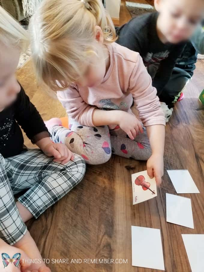 Memory Match game with pictures of musical instruments from Mother Goose Time preschool curriculum. Sights and Sounds of Winter #MGTblogger #MotherGooseTime #preschoolactivities