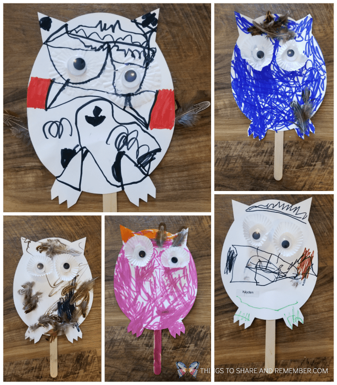 Hear the Owl? Puppet Make and Play craft activity for preschoolers #MakeandPlay #MotherGooseTime #preschool #familychildcare #MGTblogger
