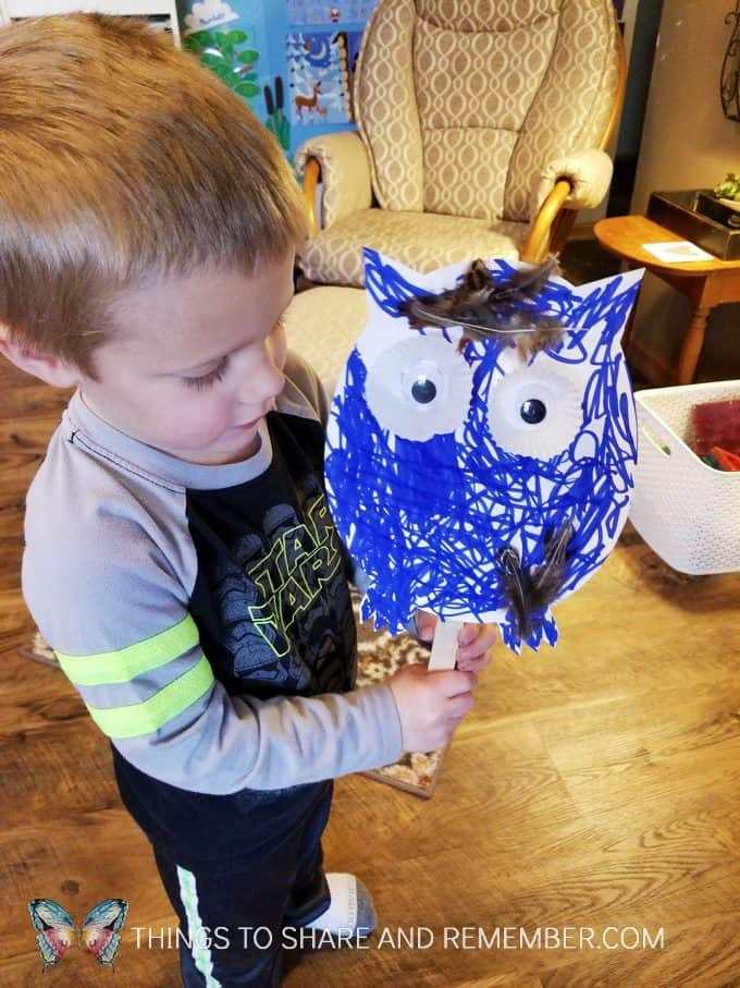 Playing with an owl puppet Make and Play craft activity for preschoolers #MakeandPlay #MotherGooseTime #preschool #familychildcare #MGTblogger
