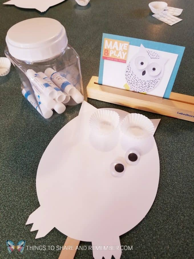 Owl puppet Make and Play craft activity for preschoolers