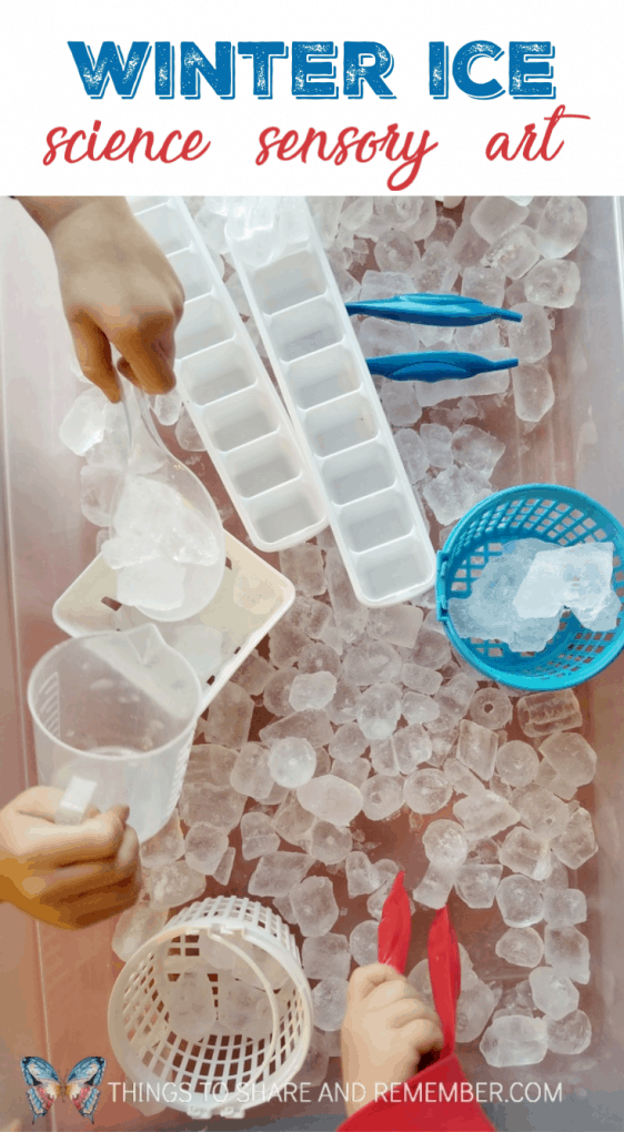 Winter Ice Activities: science, sensory, art preschool lessons Mother Goose Time Sights and Sounds of winter theme #MGTblogger #MotherGooseTime #SightsandSounds