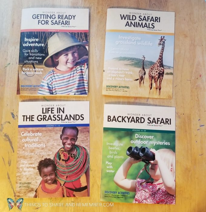 Going on Safari theme teacher guides: Getting Ready for Safari, Wild Safari Animals, LIfe in the Grasslands, Backyard Safari: Mother Goose Time preschool curriculum #GoingOnSafari #MGT blogger #MotherGooseTime