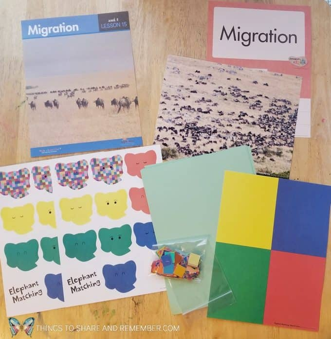 Lesson 15 on migration Going on Safari theme Mother Goose Time preschool curriculum #GoingOnSafari #MGT blogger #MotherGooseTime elephant matching game