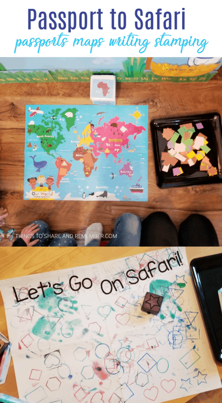 Passport to Safari passports, maps, writing and stamping activities for preschool Going on Safari theme #MGTblogger #MotherGooseTime #GoingOnSafari