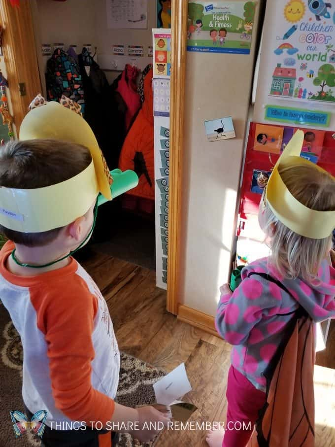 children using binoculars Going on Safari preschool theme binoculars craft and related activities for preschoolers #MGTBlogger #MotherGooseTime #preschool #preschoolcurriculum #GoingOnSafari #safaritheme