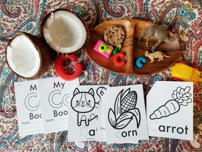 C is for coconut letter c tray miniature items from Lakeshore Learning and Letter C letter coloring books from Mother Goose Time preschool curriculum