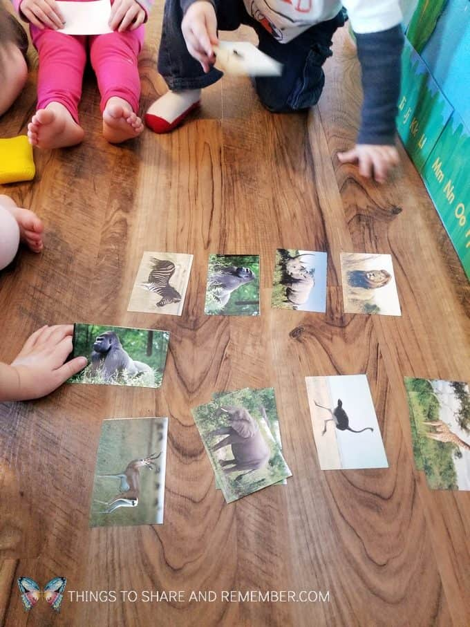 Going on Safari preschool theme binoculars craft and related activities for preschoolers #MGTBlogger #MotherGooseTime #preschool #preschoolcurriculum #GoingOnSafari #safaritheme preschool animal matching card game