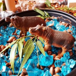 Safari Habitat Sensory bin with animals for preschoolers #MGTblogger #MotherGooseTime #preschool #GoingOnSafari