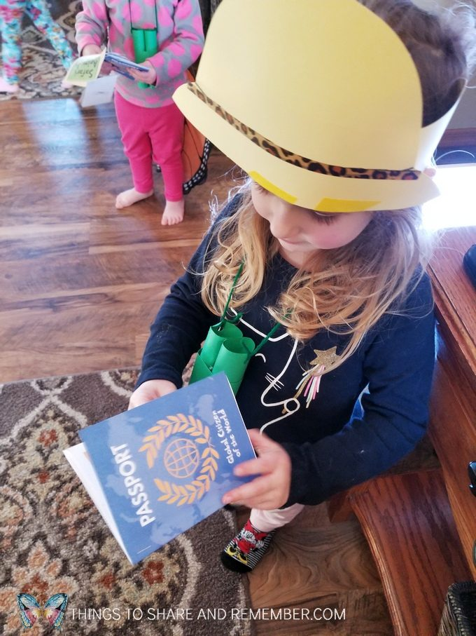 hat and passport for going on safari preschool theme Going on Safari preschool theme binoculars craft and related activities for preschoolers #MGTBlogger #MotherGooseTime #preschool #preschoolcurriculum #GoingOnSafari #safaritheme
