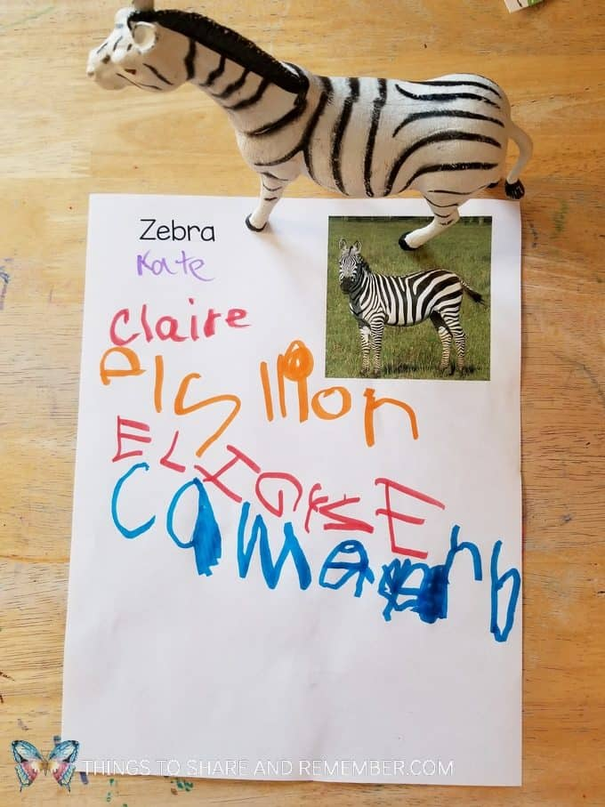 Name writing activity going on safari signing in to see the animals Passport to Safari passports, maps, writing and stamping activities for preschool Going on Safari theme #MGTblogger #MotherGooseTime #GoingOnSafari