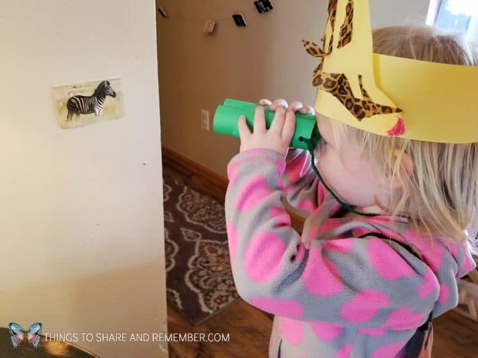 Going on Safari preschool theme binoculars craft and related activities for preschoolers #MGTBlogger #MotherGooseTime #preschool #preschoolcurriculum #GoingOnSafari #safaritheme