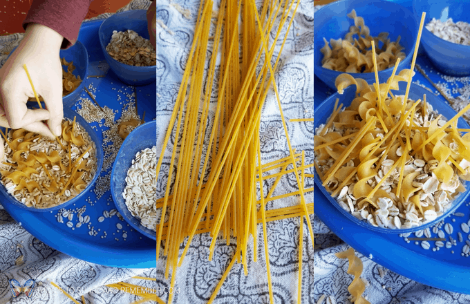 Exploring Grains sensory play- Mother Goose Time Health and Fitness theme for February 2019 - Preschool curriculum Food Groups - Grains activities #MGTblogger #MGTHealthandFitness #ece #preschool #nutritiontheme