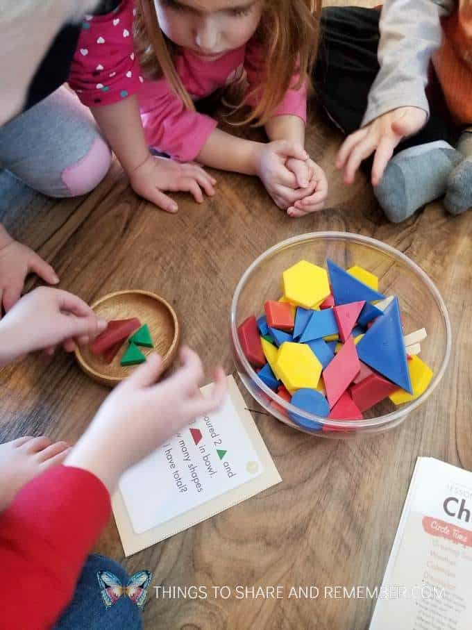 Shape recipes math with tangrams math manipulatives for preschoolers - Math Story cards from Mother Goose Time Health & Fitness theme measuring and pouring preschool activities