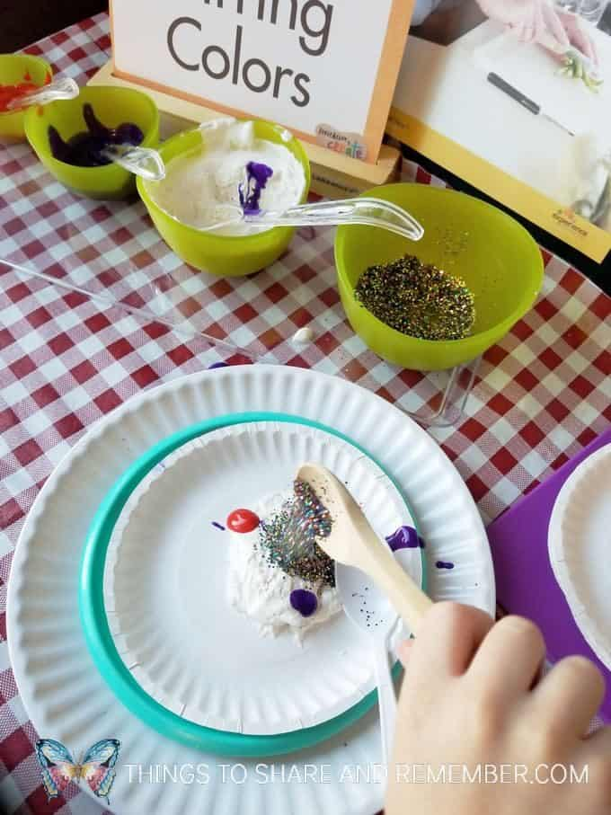 mixing shaving cream, paint and glitter art Stirring Colors Kitchen Art Mother Goose Time Invitation to Create Cooking Theme Art project