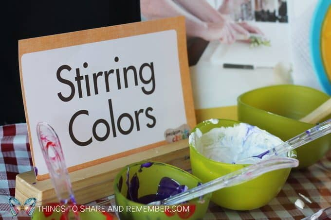 materials for Stirring Colors Kitchen Art Mother Goose Time Invitation to Create Cooking Theme Art project