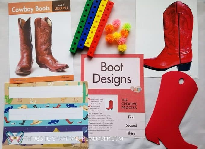 Boot Designs materials for day one of At the Rodeo Mother Goose Time preschool curriculum