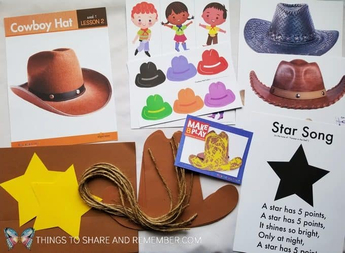 Cowboy Hat Boot materials for day two of At the Rodeo Mother Goose Time preschool curriculum