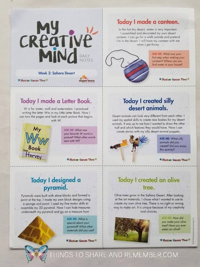 My Creative Mind Daily Notes week 2: Sahara Desert creative activities for the week Mother Goose Time preschool curriculum
