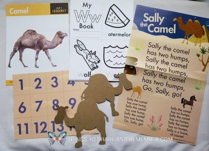Camel, Sally the Camel rhyme poster, Letter W booklets Sahara Desert - Desert Discovery Theme -Mother Goose Time preschool curriculum