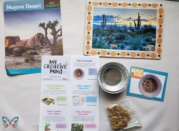 Mojave Desert puzzle, gold, My Creative Mind daily notes for parents  Desert Discovery Theme -Mother Goose Time preschool curriculum