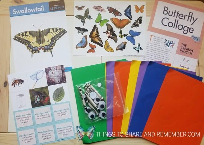 bees and butterflies theme lesson 17: swallowtail butterfly collage materials