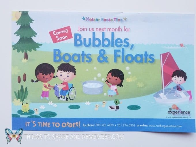 coming soon Bubbles, Boats and Floats theme from Mother Goose Time