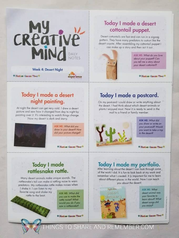 My Creative Mind Daily Notes week : Desert Night creative activities for the week Mother Goose Time preschool curriculum