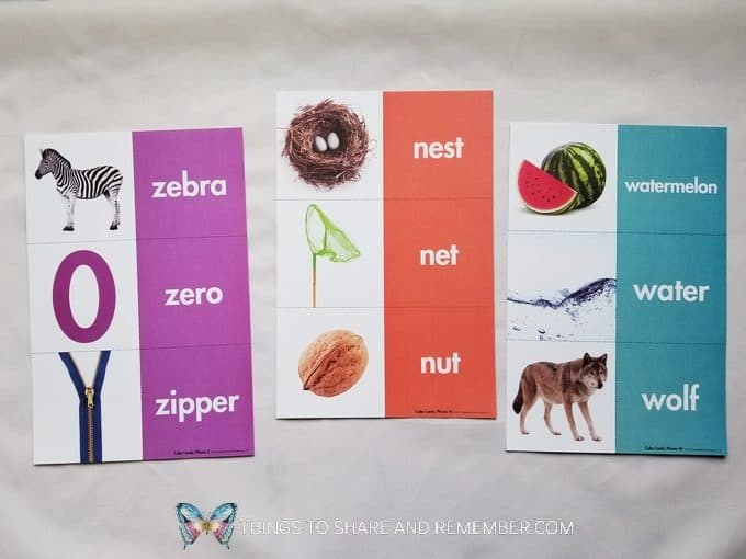 Phonics and word cards from Mother Goose Time preschool curriculum